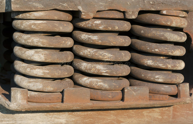 Rusty big train springs closeup. Springs suspension rusty train close up view stock image