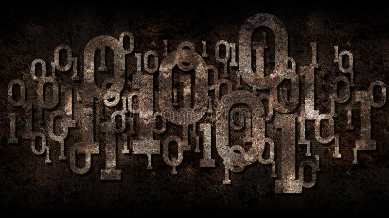 Rusty binary code, matrix rusted background binary digital code, big data, cloud service, artificial intelligence. Rusty binary code, matrix rusted background royalty free stock photos