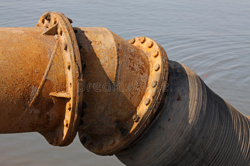 Rusty blow sand pipeline. In northern china royalty free stock images