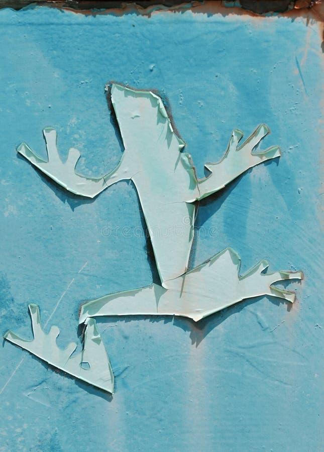 Rusty Blue Metal met Kikker stock fotografie