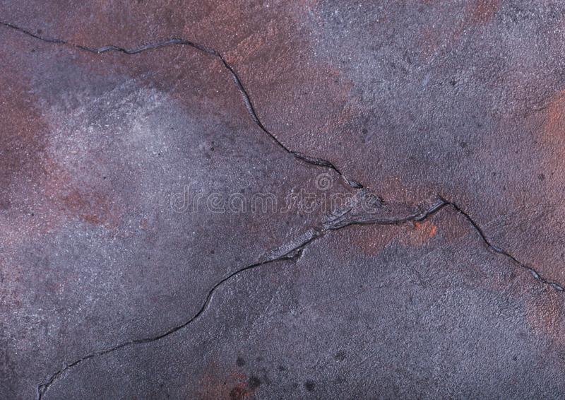 Rusty blue purple cement concrete stone texture with cracks stock images