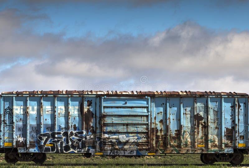 Rusty Blue Railroad Car stock fotografie