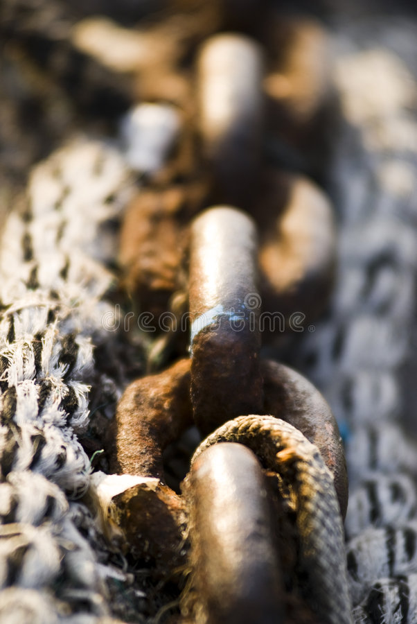Rusty Boat Chain. With rope - Trieste, Italy 2007 stock images