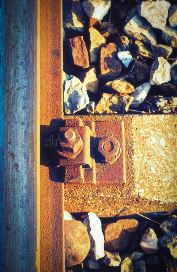 Free Rusty Bolt And Screw Nut Next To A Rail Steel Beam Stock Image - 187633301