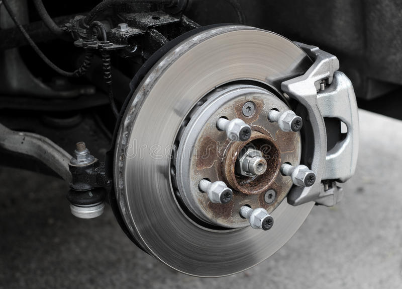 Rusty brake disc on the car at the service inspection. Brake disc and used brake pads on old car stock photo stock photography