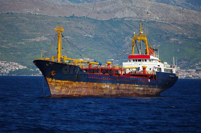 Rusty Cargo Ship Stock Photo