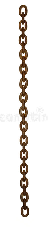 Rusty chain. Long rusty steel chain, the front view stock photo