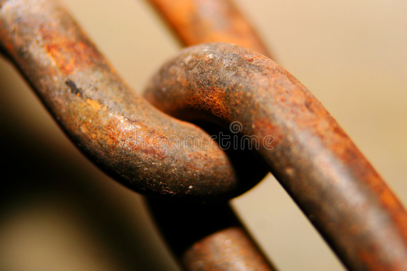 Rusty chain. Rusty old chain element extreme close-up shot royalty free stock images