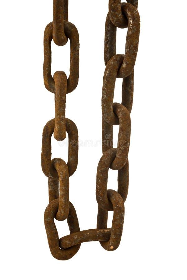 Rusty chain isolated. Old rusty chain isolated on the white background royalty free stock photo
