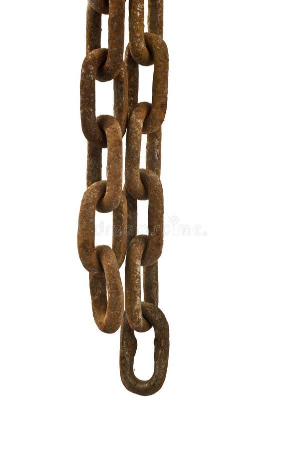Rusty chain isolated. Old rusty chain isolated on the white background royalty free stock photos