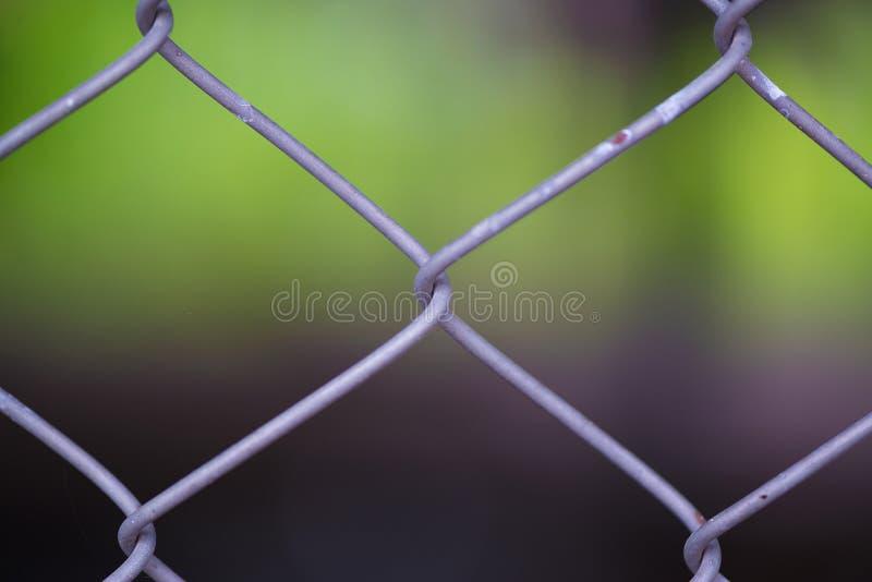Rusty Chain Link Fence del reticolato d'acciaio sul fondo della sfuocatura fotografia stock libera da diritti