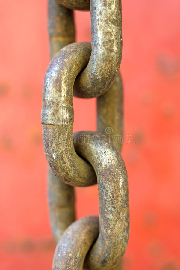 Rusty chain. Of an old truck stock photography