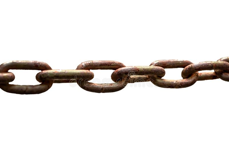 Rusty Chain op Witte Achtergrond stock afbeelding