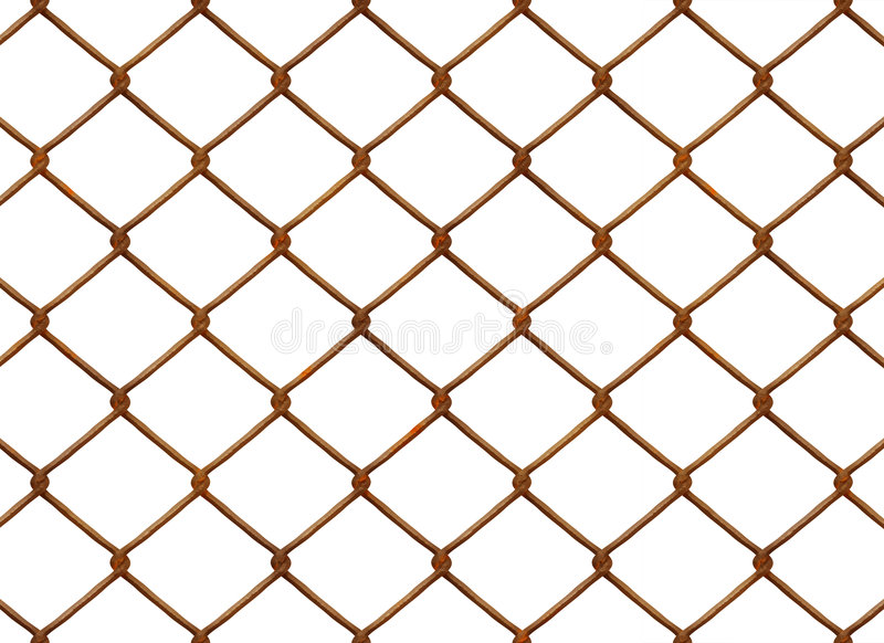 Rusty Chainlink fence. A chain link fence on white background royalty free illustration