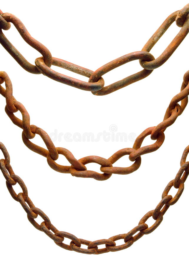 Rusty Chains. A selection of old, rust chains. Isolated over pure white royalty free stock photography