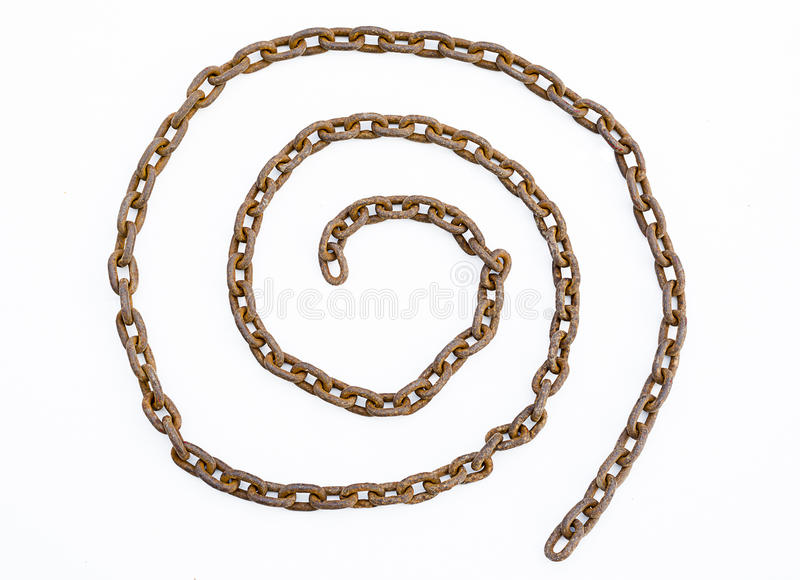 Rusty chains isolated stock photo