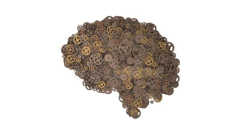 Rusty cogwheel brain built from gears  - 3D illustration. Rusted cogs and gears in the shape of a brain illustrating artificial intelligence and computing royalty free illustration