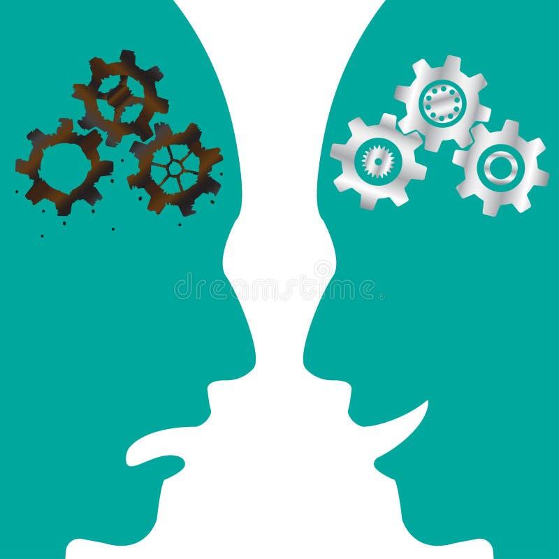 Rusty Cogwheel Brain CONTRA o cérebro novo da roda denteada ilustração do vetor