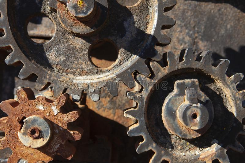 Rusty cogwheels detail. Rusty gearbox and cogwheels detail stock photography