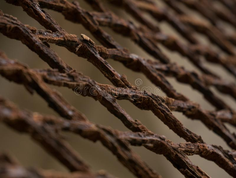 Rusty, corroded metal mesh fence, closeup at angle. With shallow depth of field stock photo