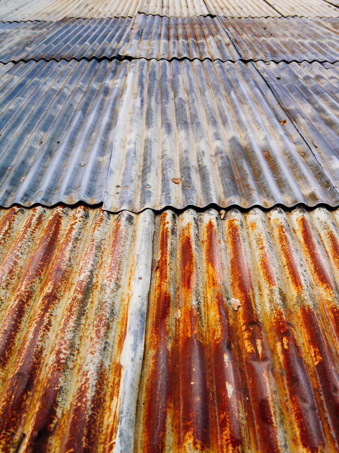 Rusty corrugated metal roof royalty free stock photos