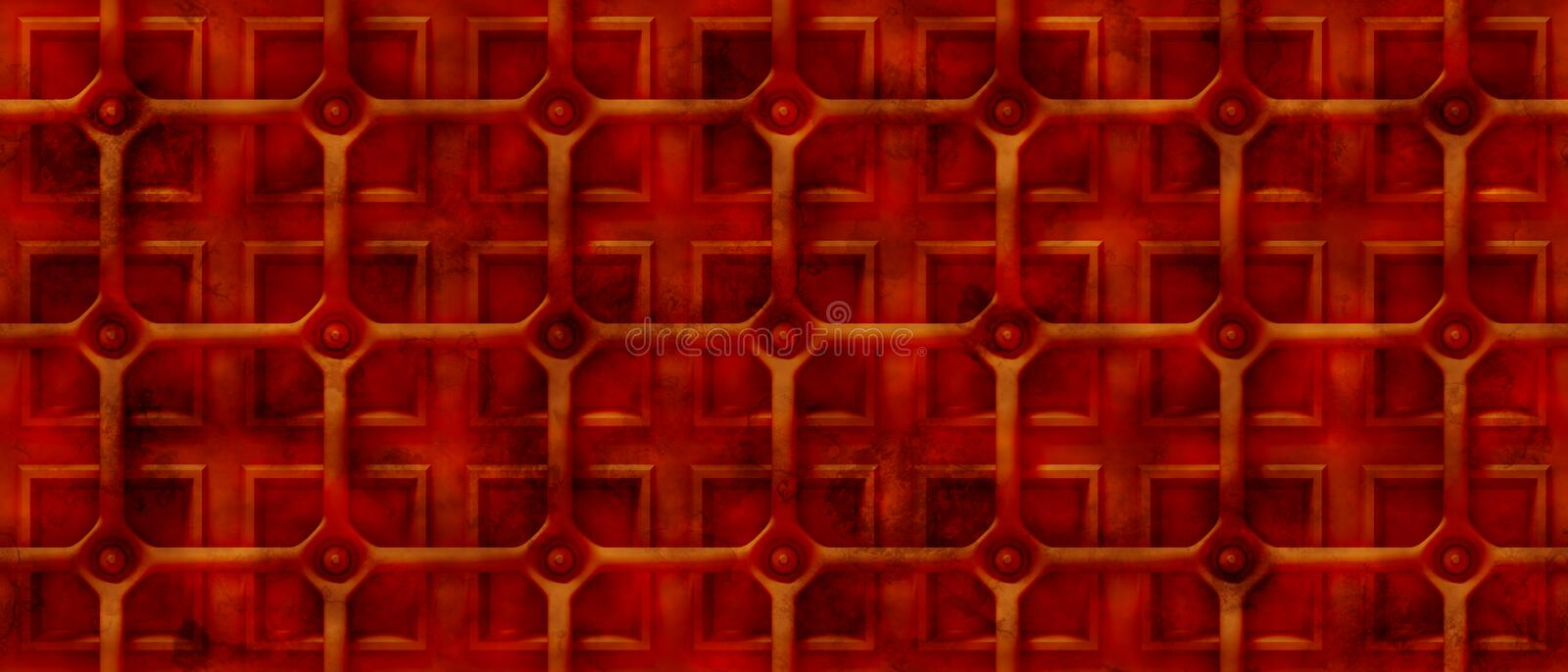 Rusty 3d steampunk background with a grid over square shapes (seamless). Endless rusty tech background with round pipes over a surface with square shapes royalty free illustration