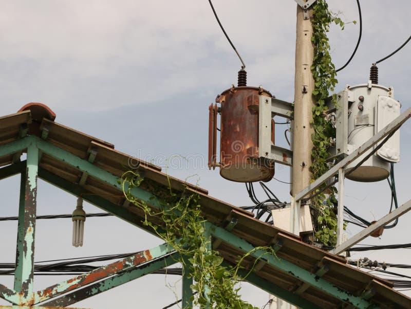 Rusty Distribution Transformer d'annata/scatola elettrica su Palo fotografie stock libere da diritti