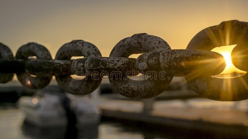 Rusty dock chain royalty free stock images