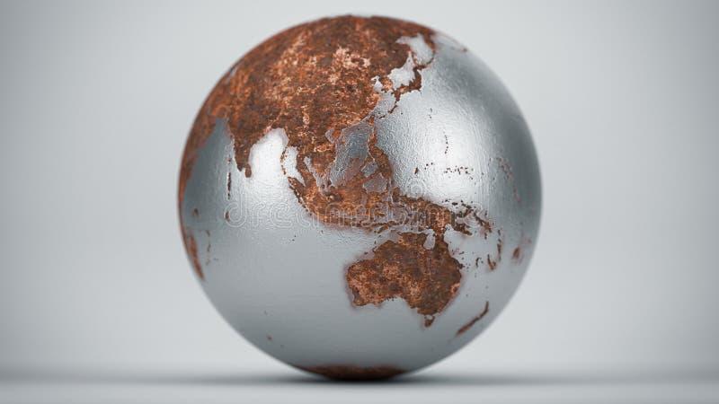 Rusty Earth Oceania Asia. Chromed Rusty Earth Oceania Asia stock image