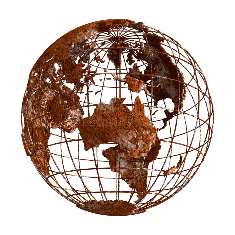 Rust Earth planet 3D Globe royalty free illustration