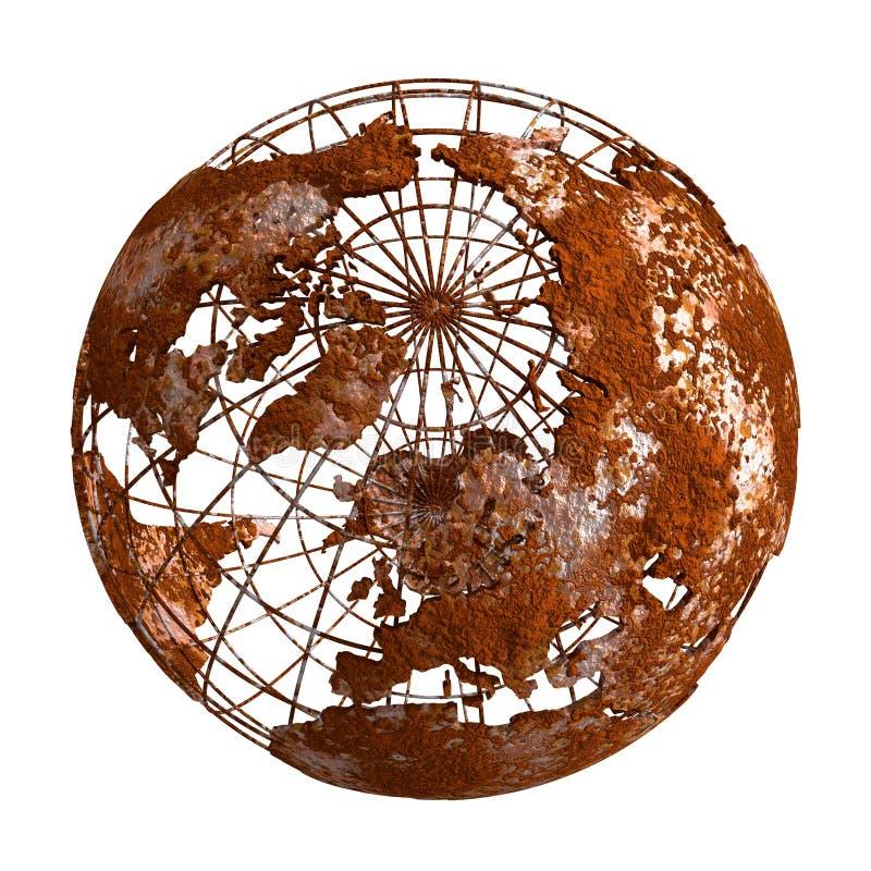 Rusty Earth-Planet 3D Kugel stock abbildung