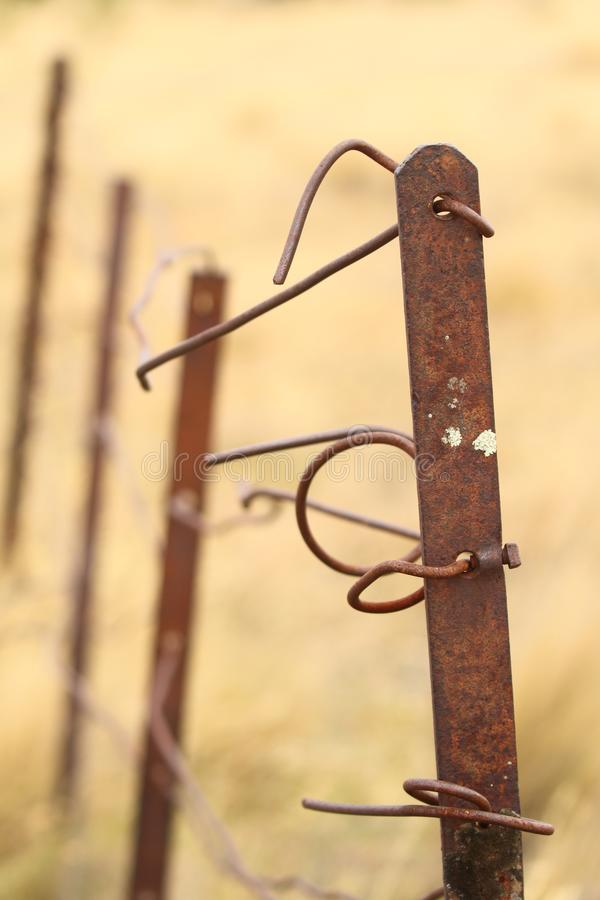 Fence marking the spade-line boundary, Otago, New Zeaand. This rusty fence is part of the original fence which marked the boundary. In 1861, the General Assembly royalty free stock photography