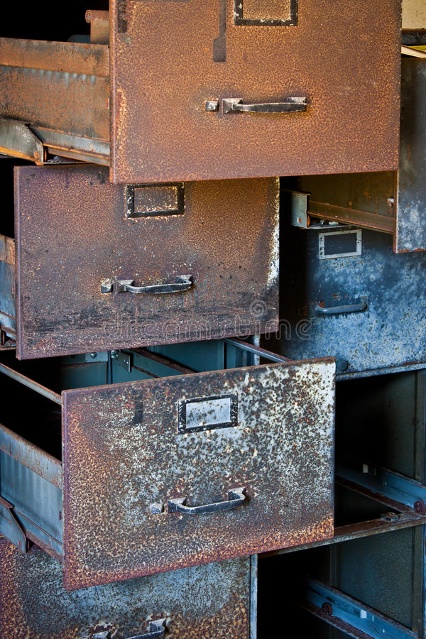 Rusty Filing Cabinets royalty-vrije stock afbeelding