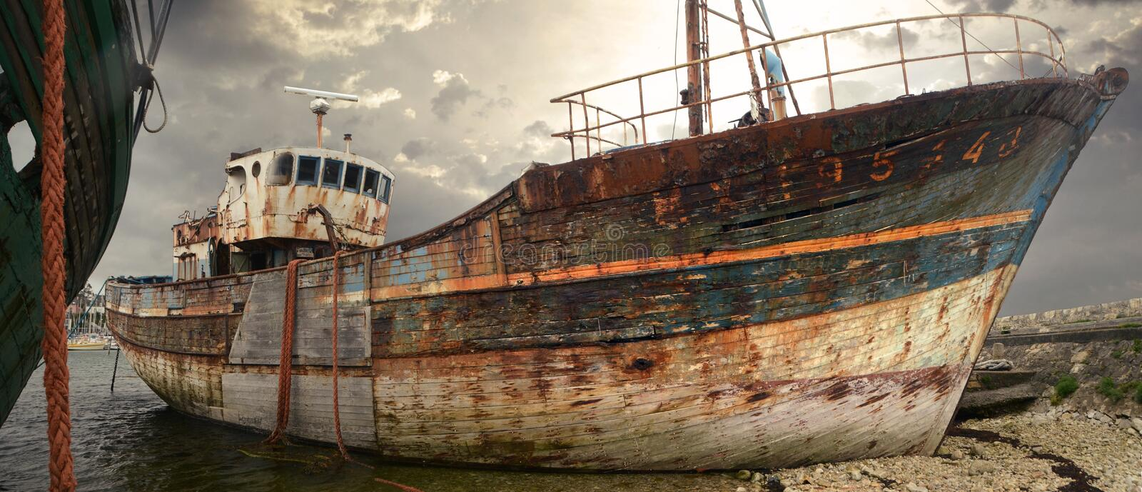Old fishing boat rusty and wreck royalty free stock photos
