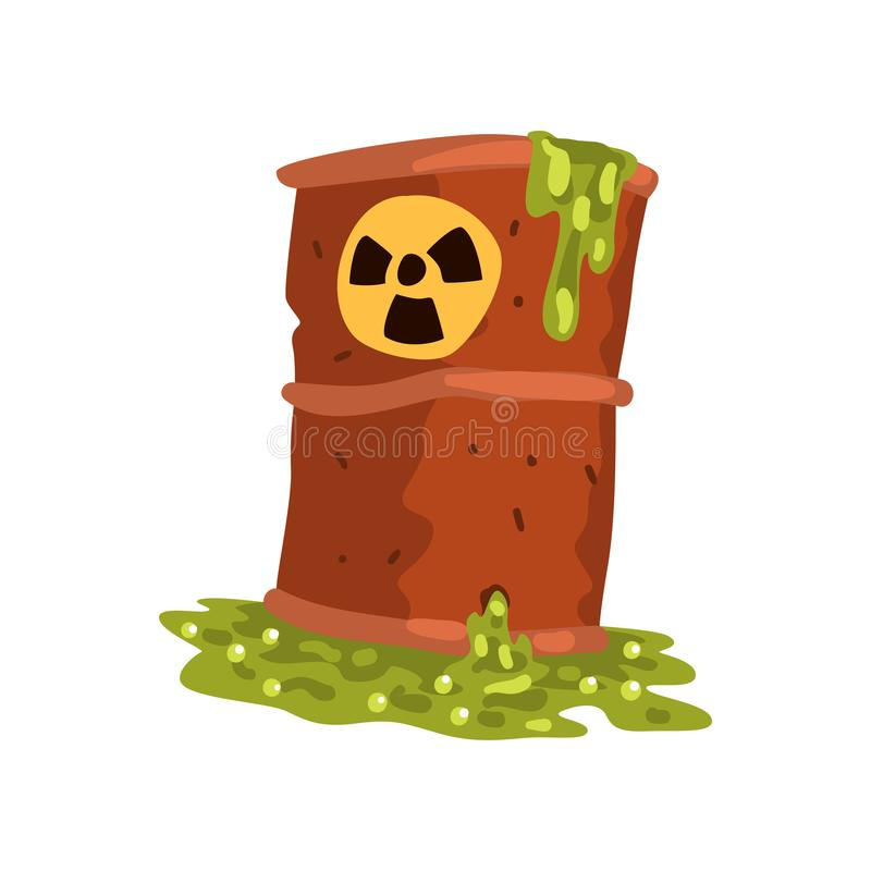 Rusty flowing barrel of nuclear waste, ecological problem, environmental pollution concept, vector Illustration on a. Rusty flowing barrel of nuclear waste stock illustration