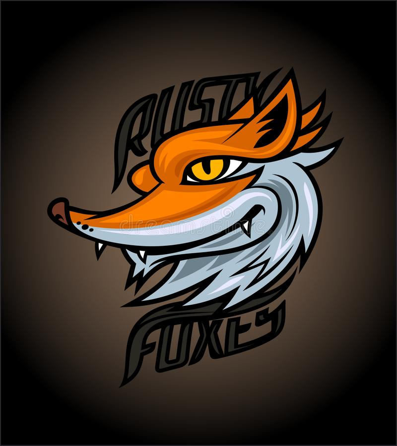 Rusty foxes logotype design concept on dark background, sport infographic team pictogram stock illustration