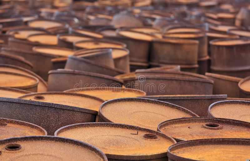 Rusty fuel drums on Arctic coast royalty free stock photos