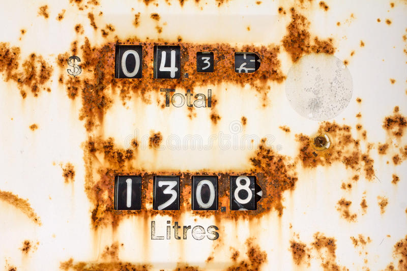Rusty fuel pump display royalty free stock image