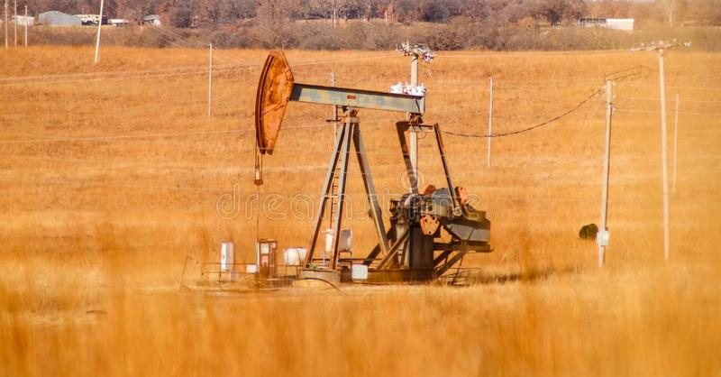 Oil pumpjack in an orange winter field full of electric poles with blurred grass in the foreground stock photography
