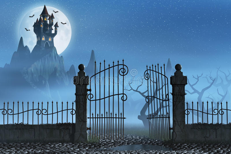 Rusty gate and a spooky dark castle. A rusty open gate leading to a spooky castle high up in the mountains vector illustration
