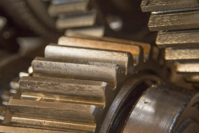 Rusty gear. Close up view of gears from old mechanism stock images