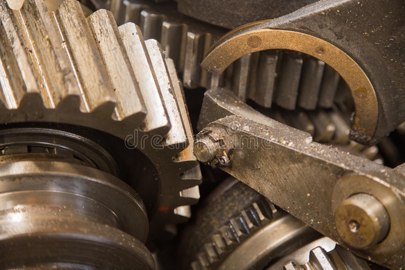Rusty gear. Close up view of gears from old mechanism royalty free stock image
