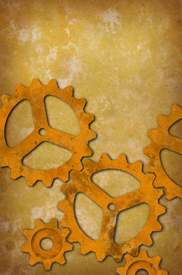 Rusty Gears Against A Mottled Yellowish Background Stock Photography