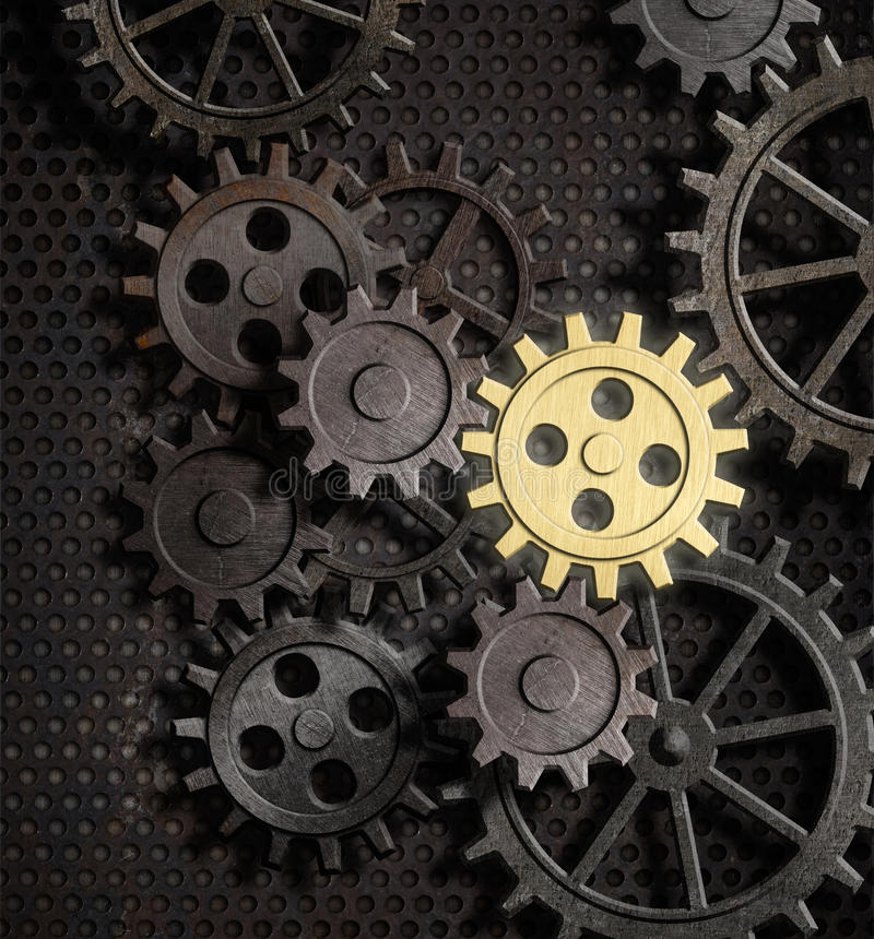 Free Rusty Gears And Cogs With Gold One Royalty Free Stock Images - 29892429