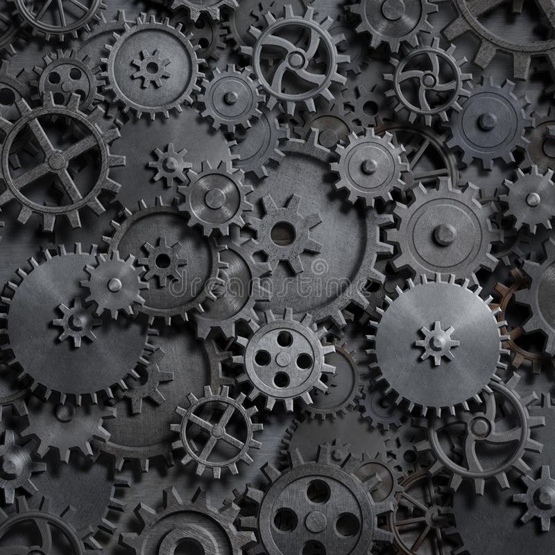 Gears and cogs steam punk technology background 3d illustration stock illustration
