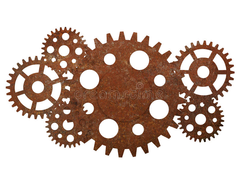 Rusty gears and cogwheels. Isolated on white background stock photography