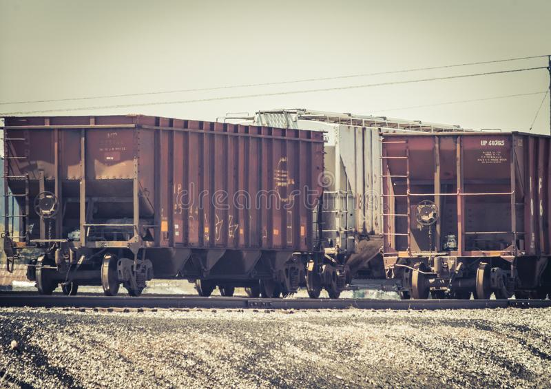 Rusty Grain Hopper Train Cars photos libres de droits