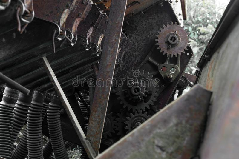 Rusty and grungy rural technical device background with visible. Different parts royalty free stock image