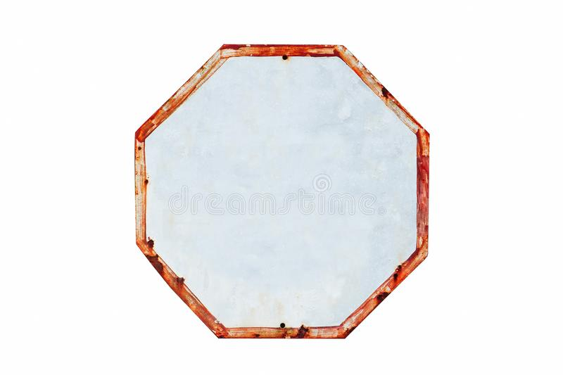 Rusty and grungy white and red old empty road traffic sign in octagon shape. Weathered under the elements and isolated on a white background with clear copy stock images