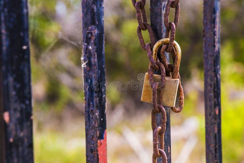 Rusty hanglock die de poort sluit stock fotografie